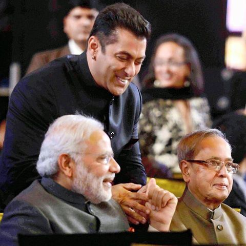 Bollywood Salman Khan with Indian PM Modi and President